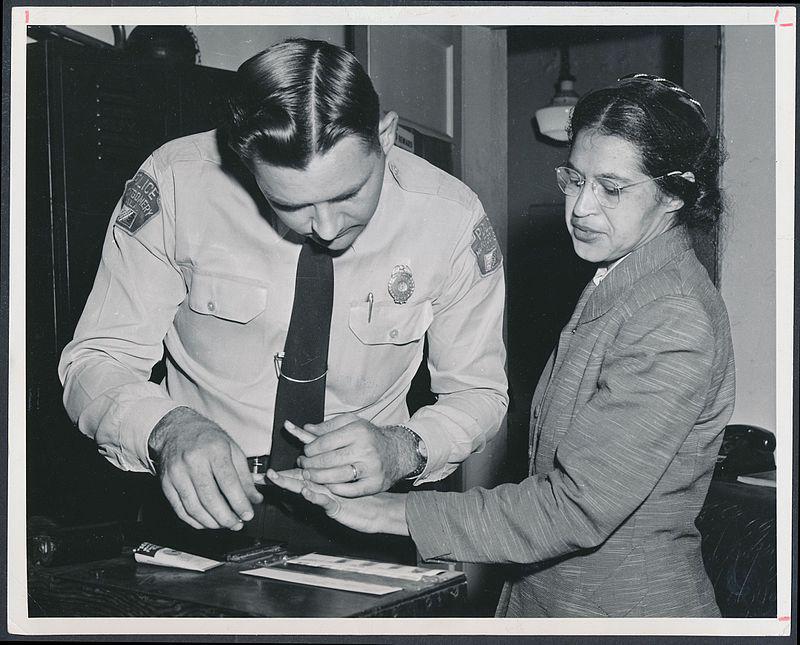 Roza Parks getting fingerprinted